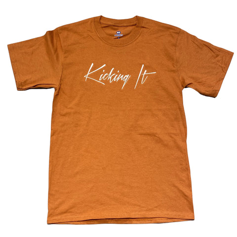 Kicking It Embroidered Script Tee Burnt Orange