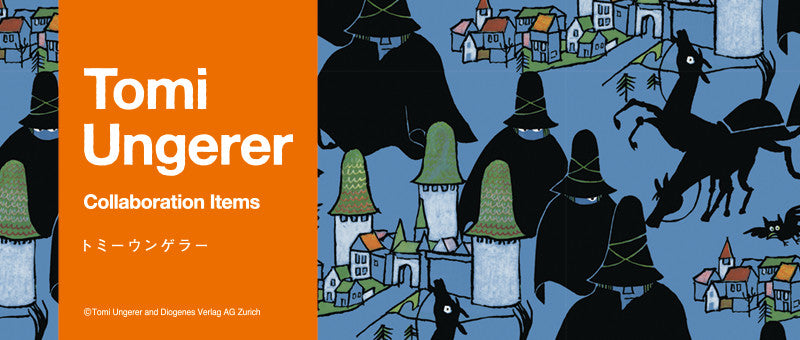 "We are proud to release a collection inspired by one of the most important French artists, Tomi Ungerer. From his wide-ranging works of art, we have picked rare paintings, posters, and of course the world-famous classic picture book ""The Three Robbers"". [ssorder:-20190319] [background:dark]"