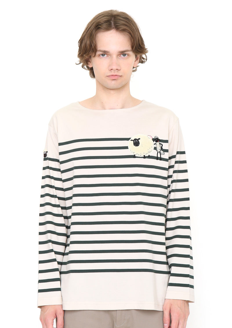 Shaun the Sheep Boat Neck Border Long Sleeve Tee (Shaun the Sheep_Shaun Shirley Stripes)