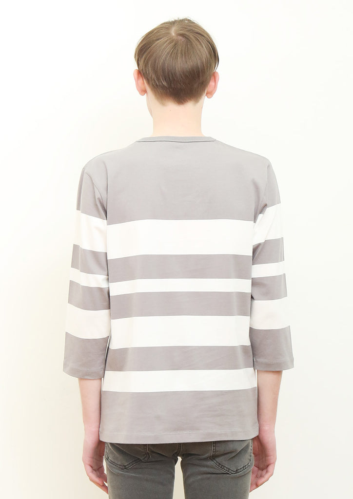 Quilting Pocket Middle Sleeve Tee (Gray)