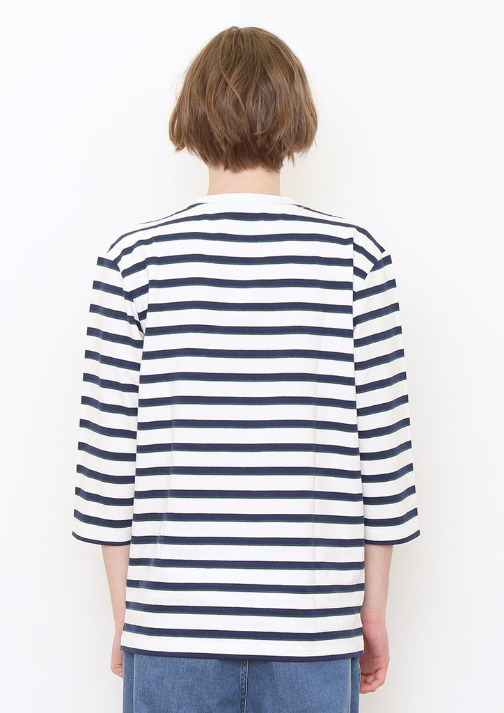 Border Middle Sleeve Tee (White)