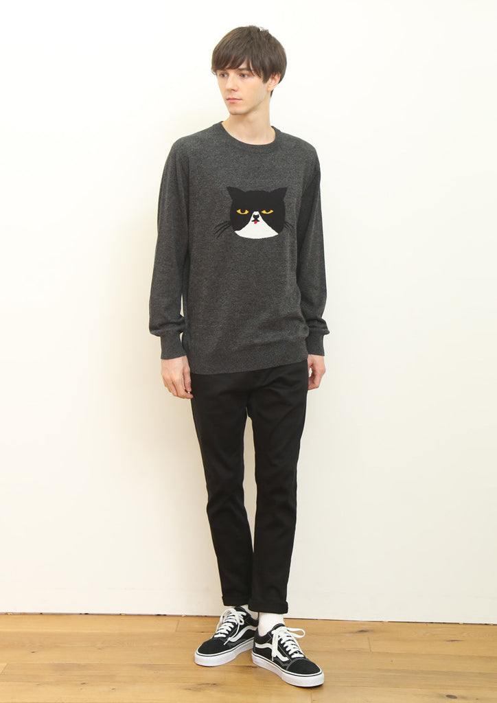 Graphic Jacquard Long Sleeve Knit B (Sourpuss Cat Face)