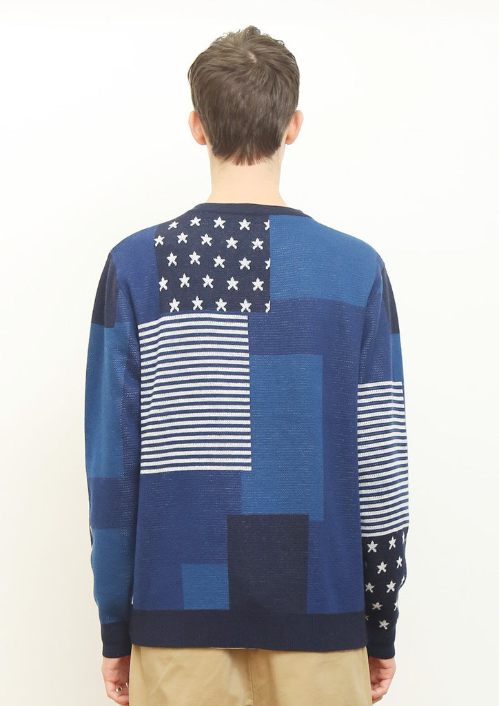 Double Jacquard Long Sleeve Knit B (Random Patchwork)