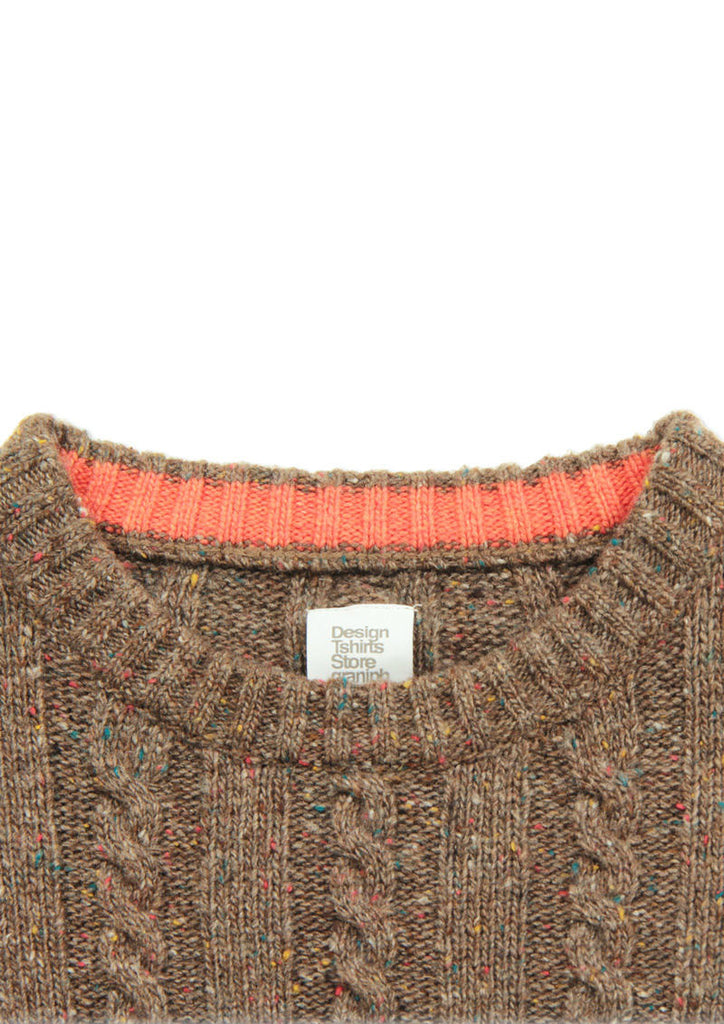Color Nep Long Sleeve Knit (Heather Brown)