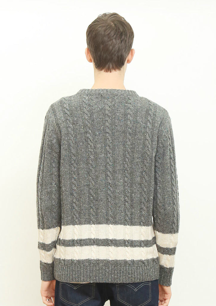 Color Nep Long Sleeve Knit (Heather Gray)