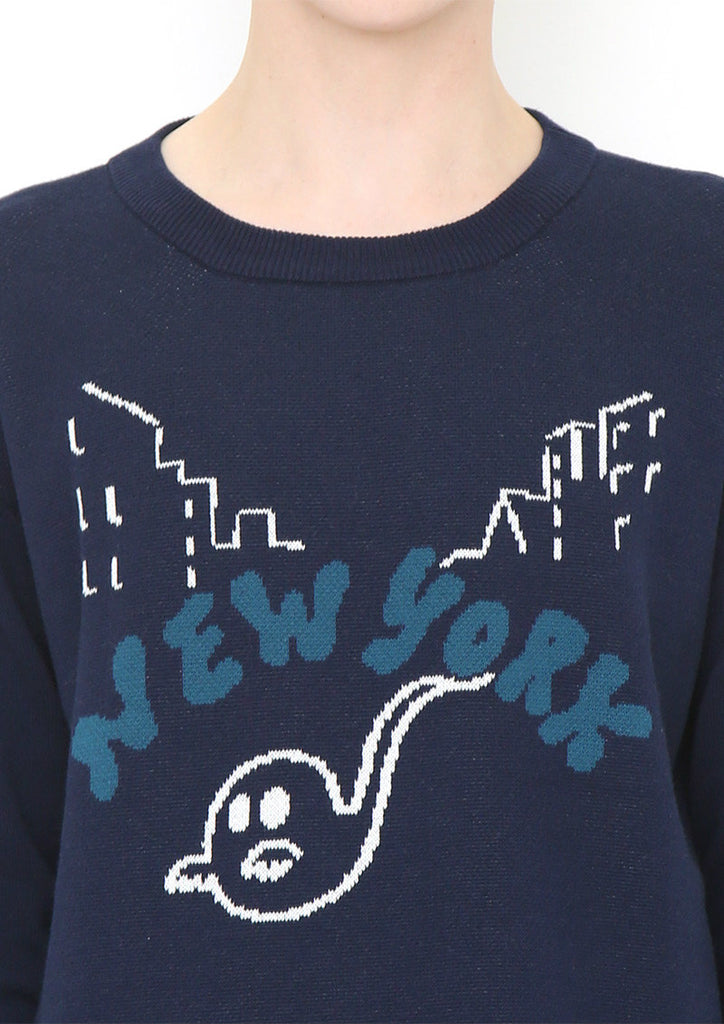 Graphic Jacquard Long Sleeve Knit B (New York Ghost)