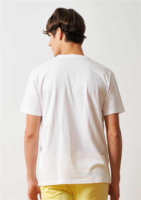 Patchwork Panel Short Sleeve Tee (White)