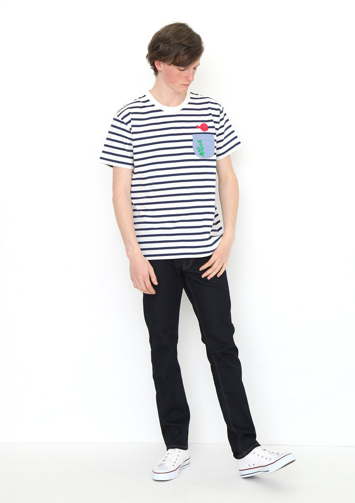 Taro Gomi Border Short Sleeve Tee (Taro Gomi_Kingyo ga Nigeta Fish Bowl)