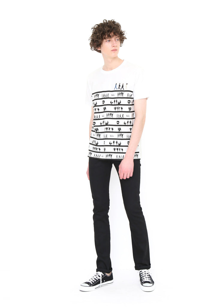 The Beatles Short Sleeve Tee (The Beatles_Member Silhouette Stripes)