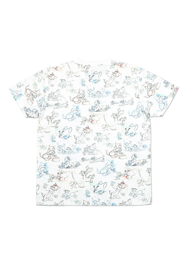 Tom and Jerry Multi Pattern Short Sleeve Tee (Tom and Jerry_Sketch Pattern)