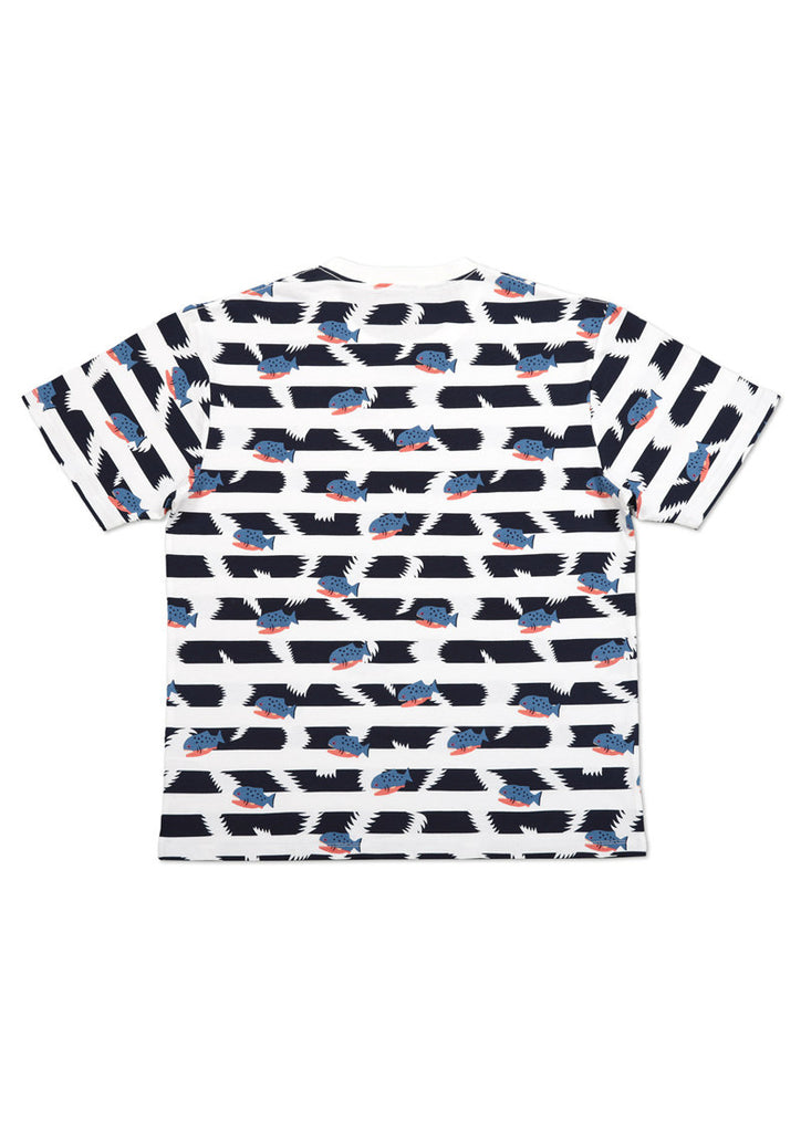 Multi Pattern Short Sleeve Tee (Piranha border)