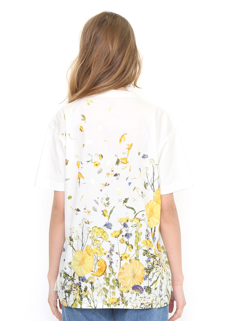 Back Multi pattern Short Sleeve Tee (Dry Flower Collage)