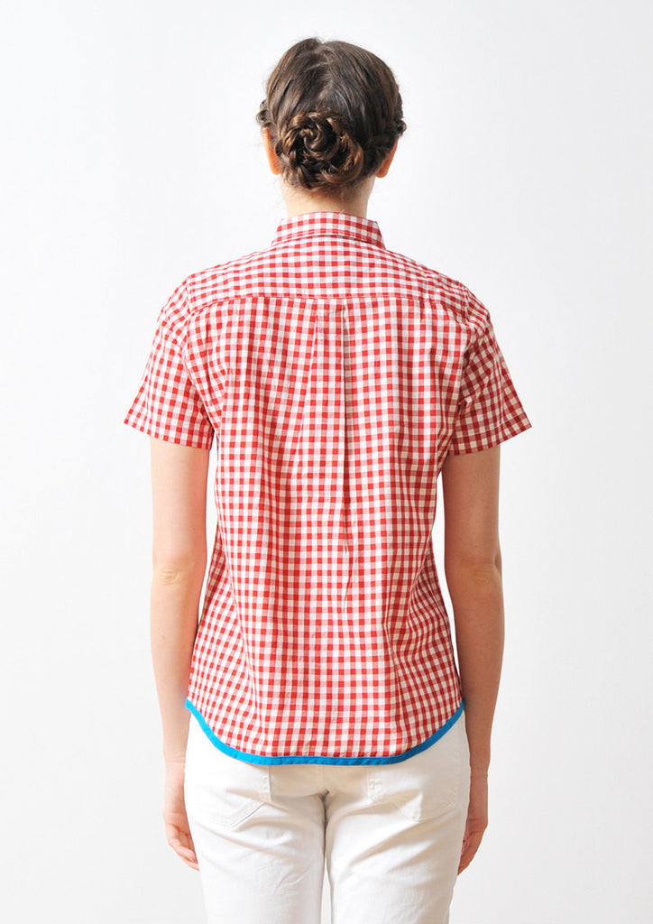 Color Block Gingham Check Short Sleeve Shirt (Red)