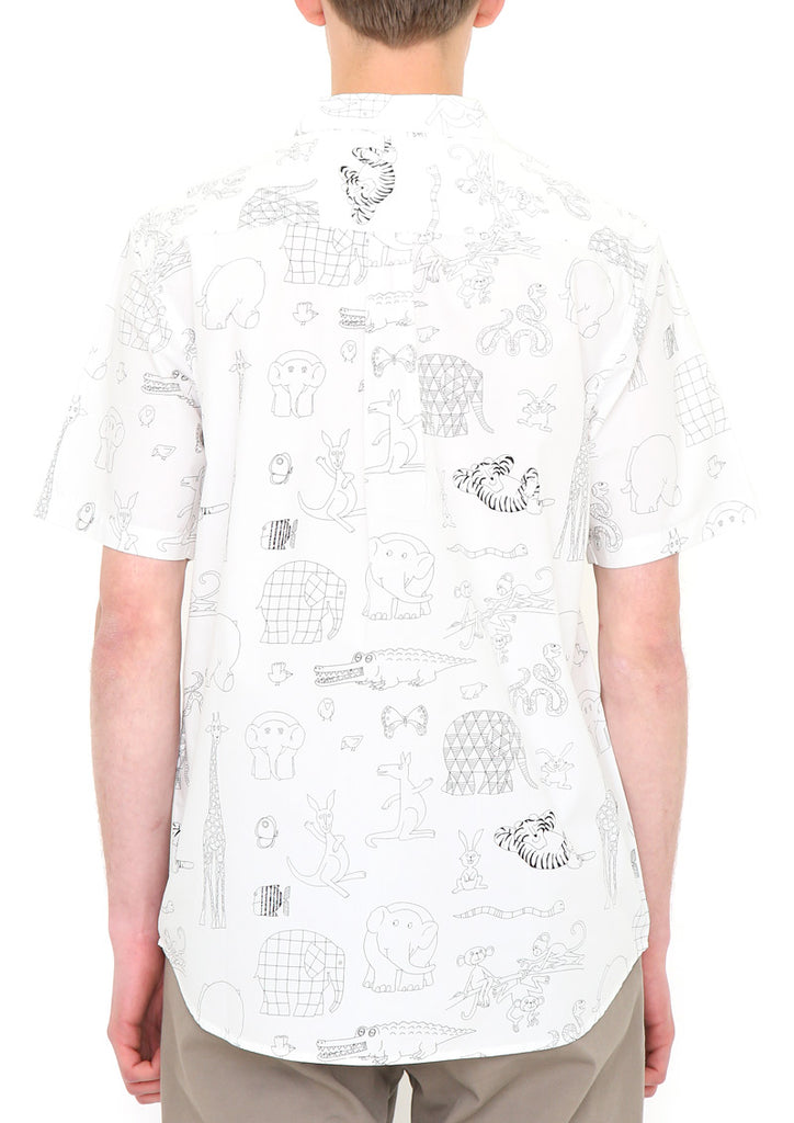 ELMER THE PATCHWORK ELEPHANT Short Sleeve Shirt B (ELMER THE PATCHWORK ELEPHANT_Elmer Embroidery and Line Art)
