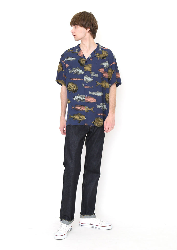 Multi Pattern Open Collar Short Sleeve Shirt (sakana sketch)