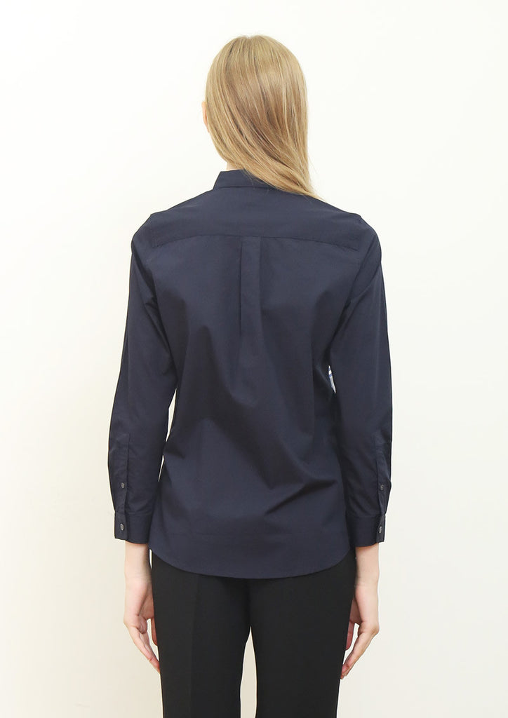 Panel Switching Long Sleeve Shirt (Navy)