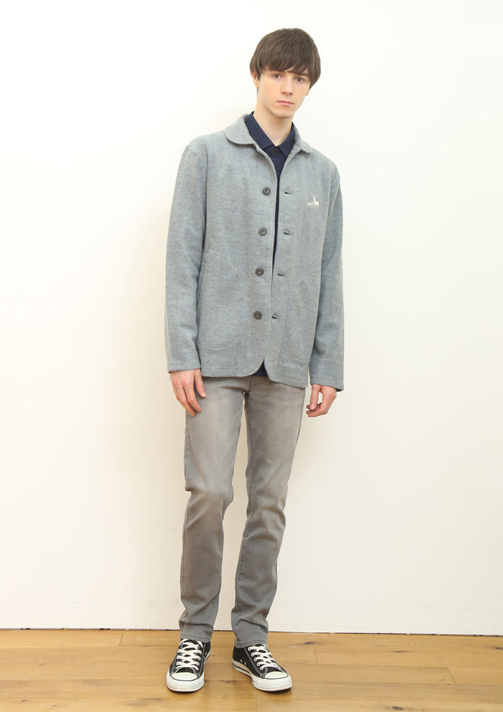 Mix Fabric Long Sleeve Shirt (Navy)