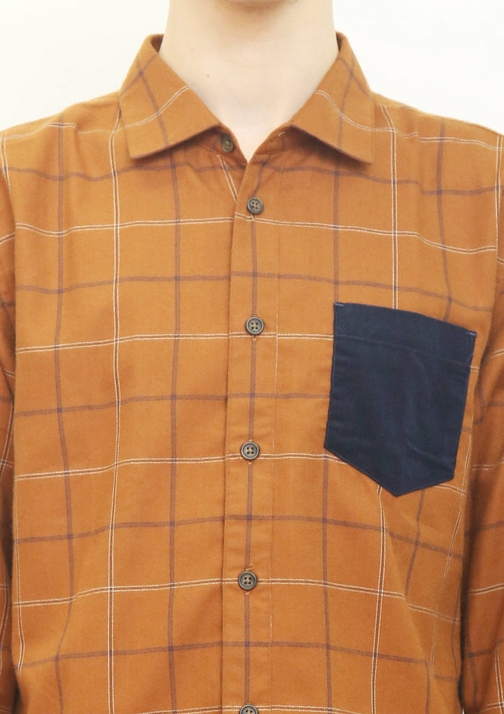 Mix Fabric Long Sleeve Shirt (Orange)