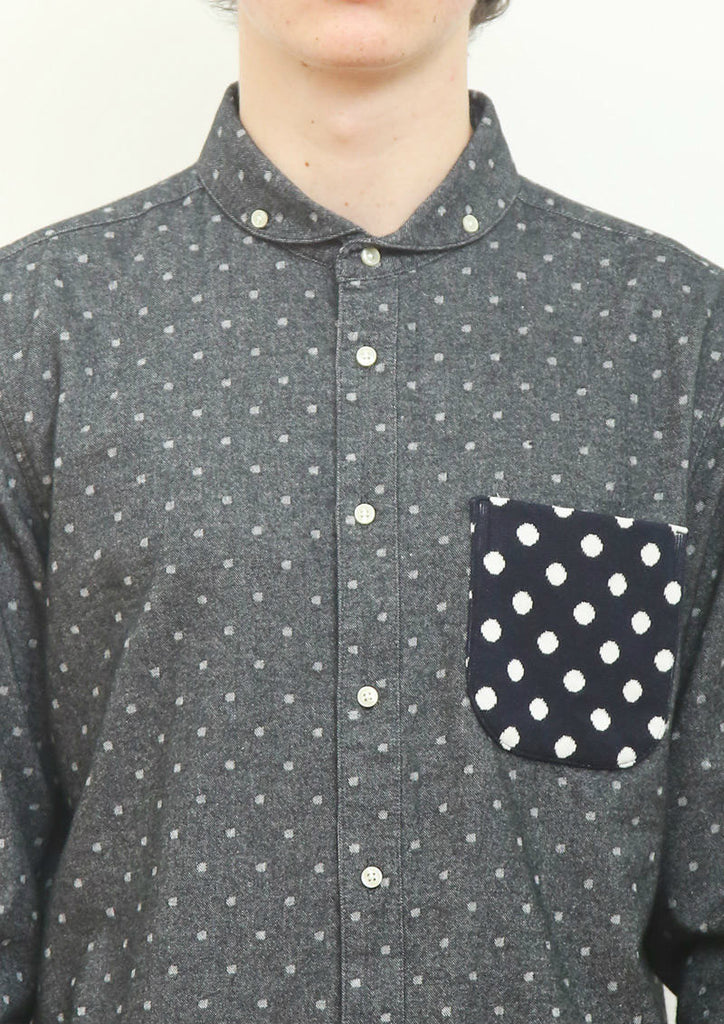 Dot Long Sleeve Nel Shirt (Black)