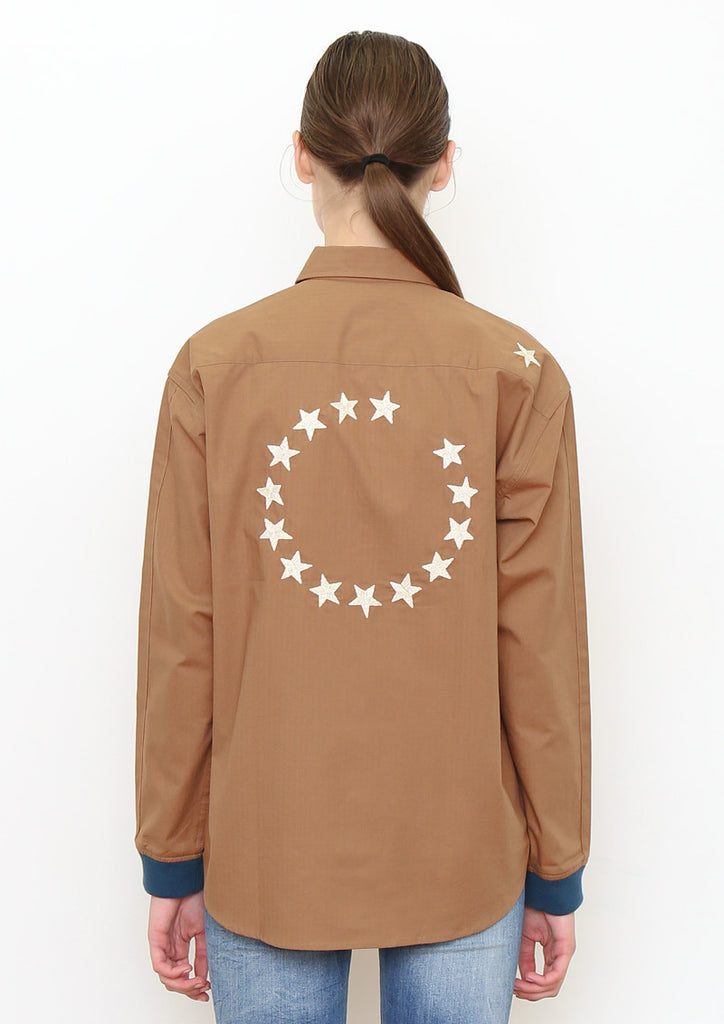 Cuffs Rib Long Sleeve Shirt (Star Circle)