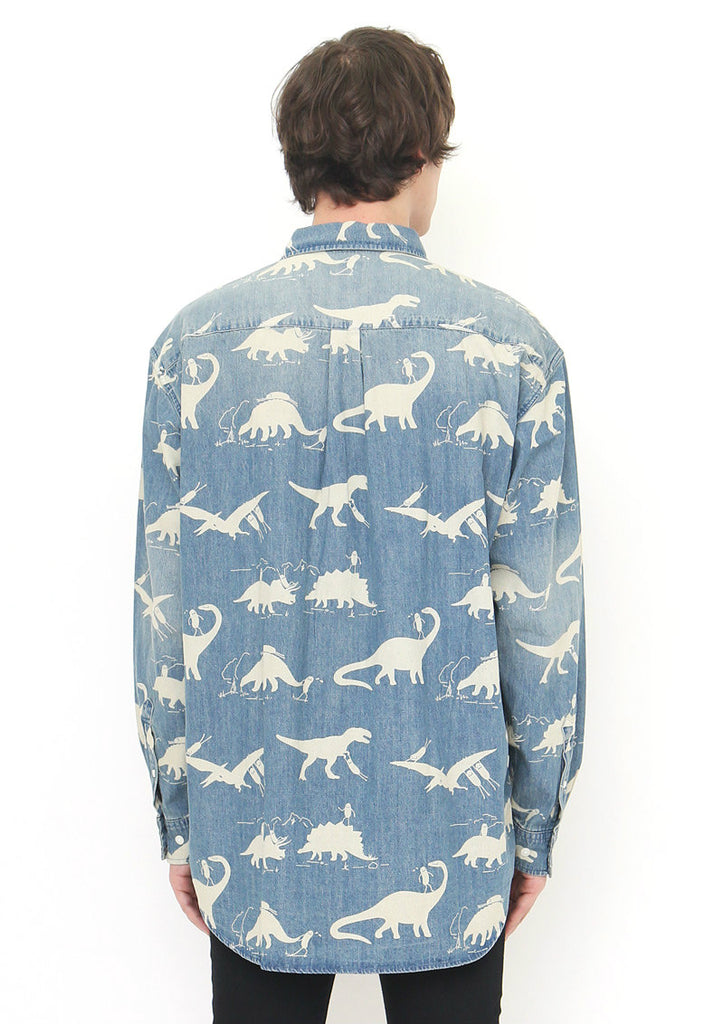 Indigo Loose Fit Long Sleeve Shirt (BS playing with Dinosaur)