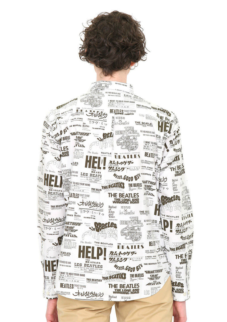 The Beatles Multi Pattern Long Sleeve Shirt (The Beatles_Many Title Pattern)