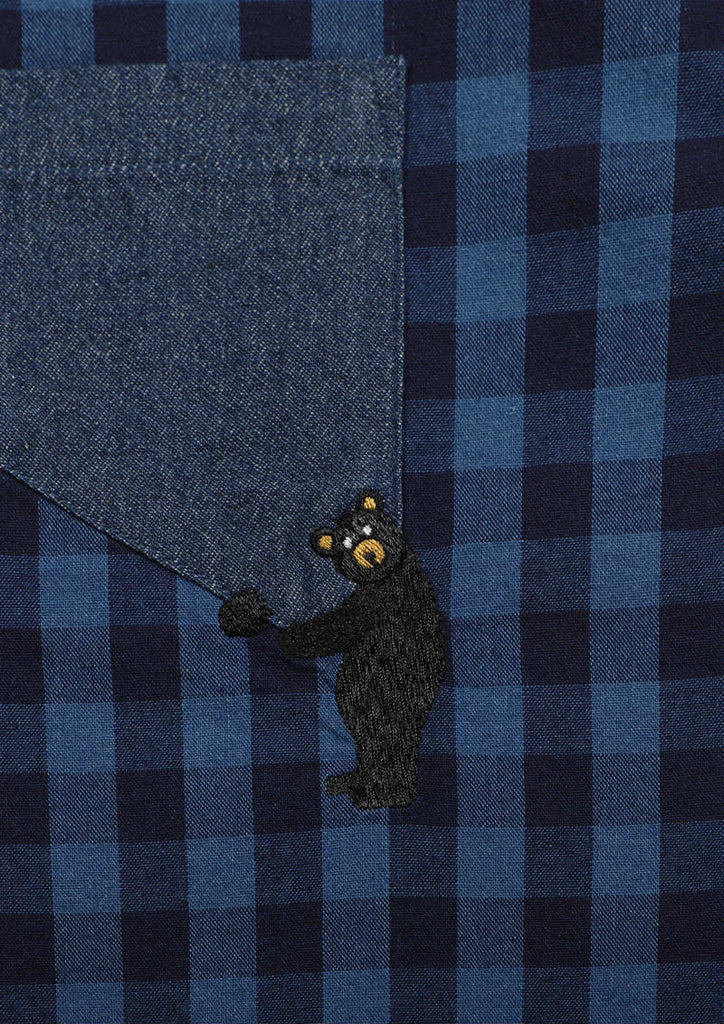 Indigo Long Sleeve Shirt (Pocket Hug Bear)