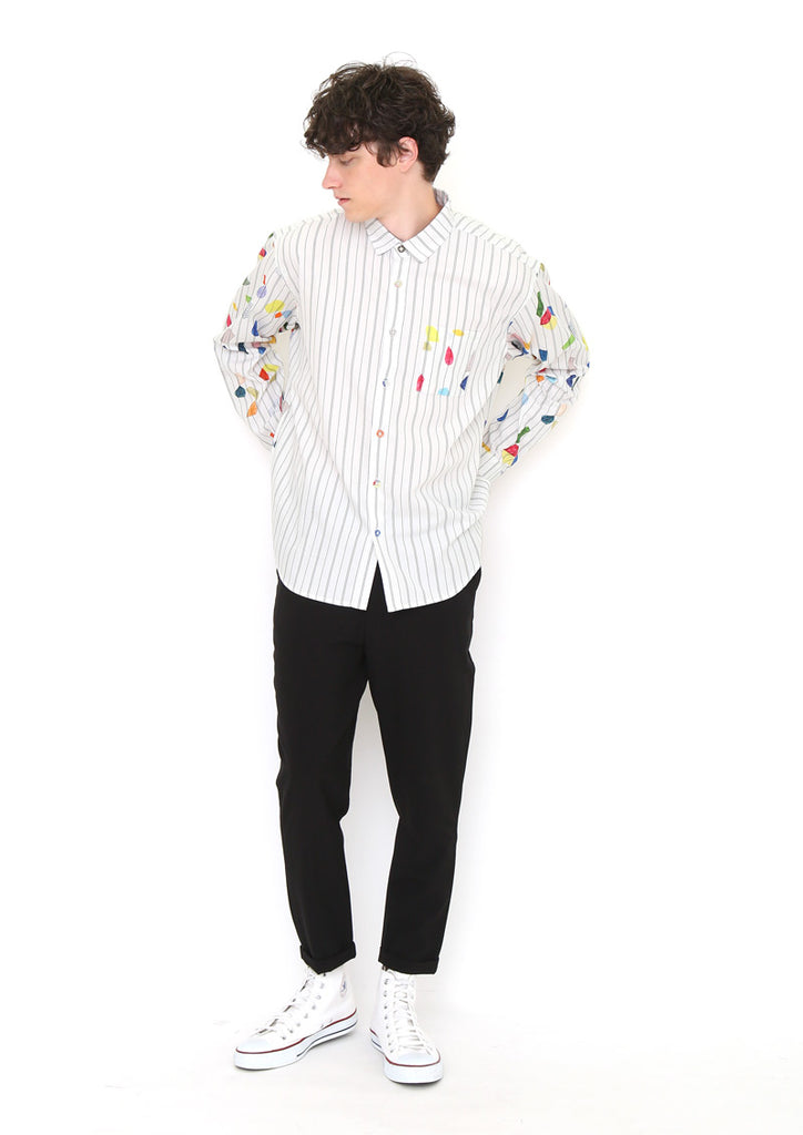Graphic Combination Long Sleeve Shirt (Geometric Pieces)