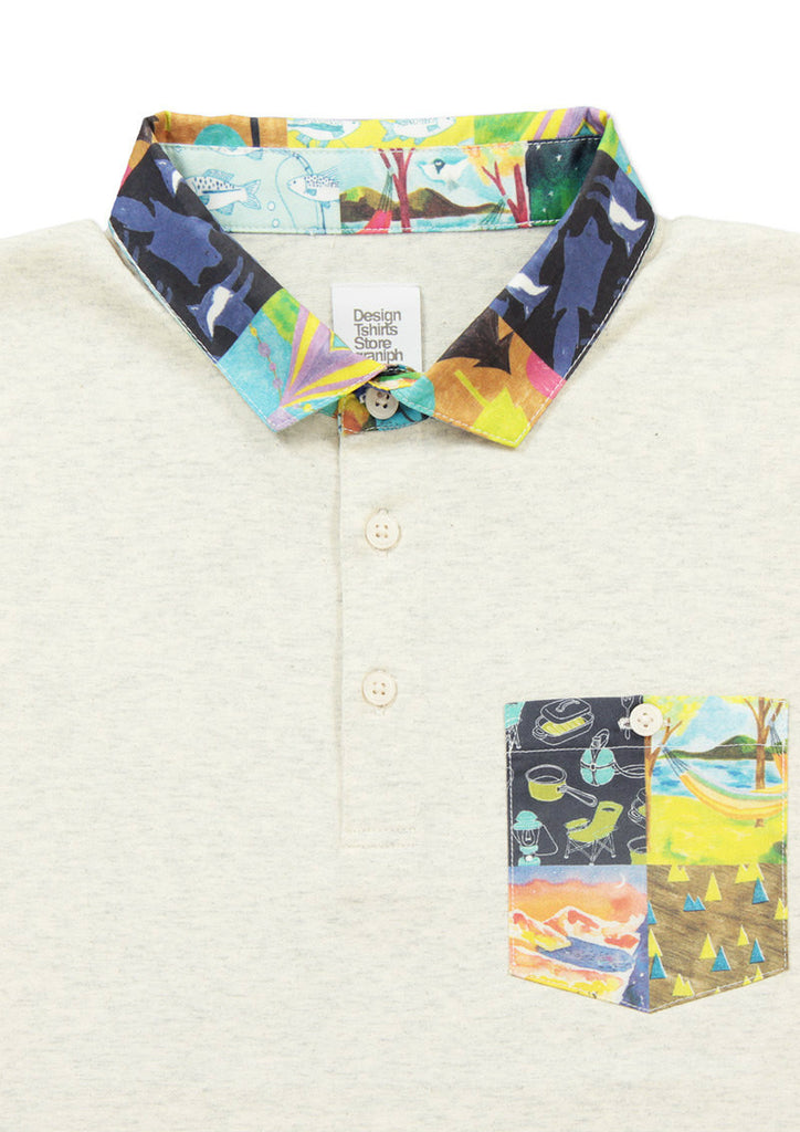 Print Collar Polo Shirt (Patchwork of Camp)