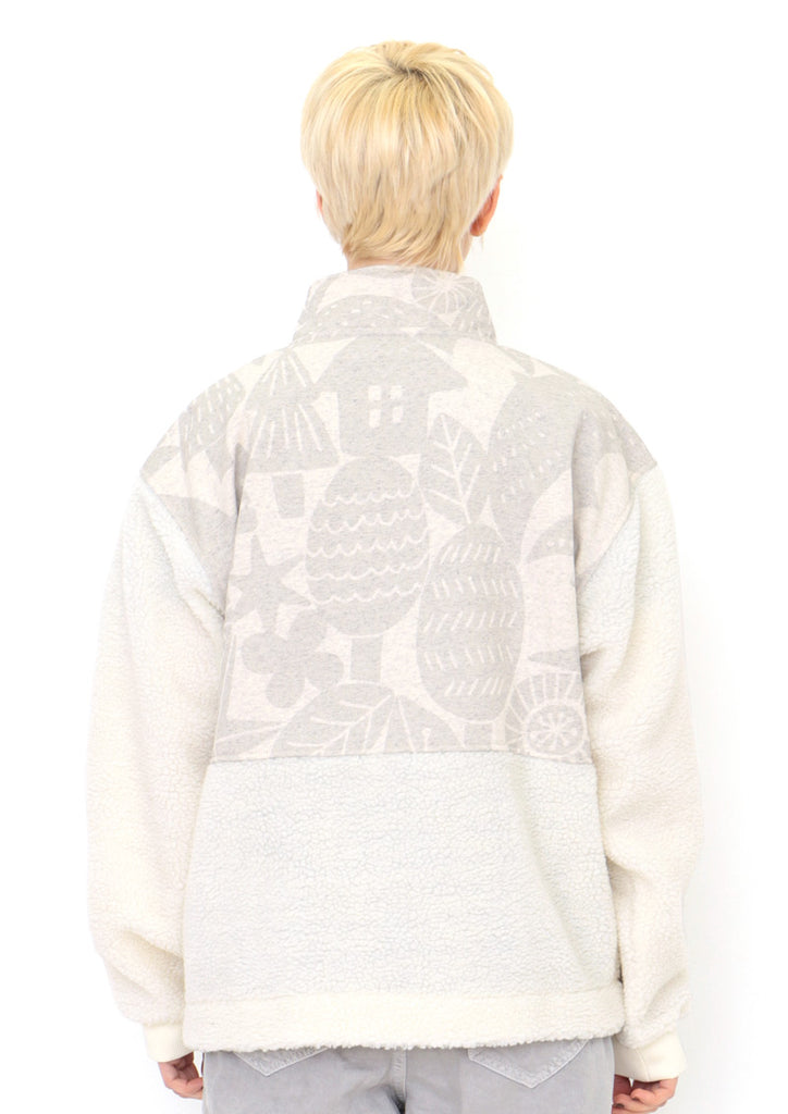 Mix Fabric Stand Collar Blouson (Birds and Moon)