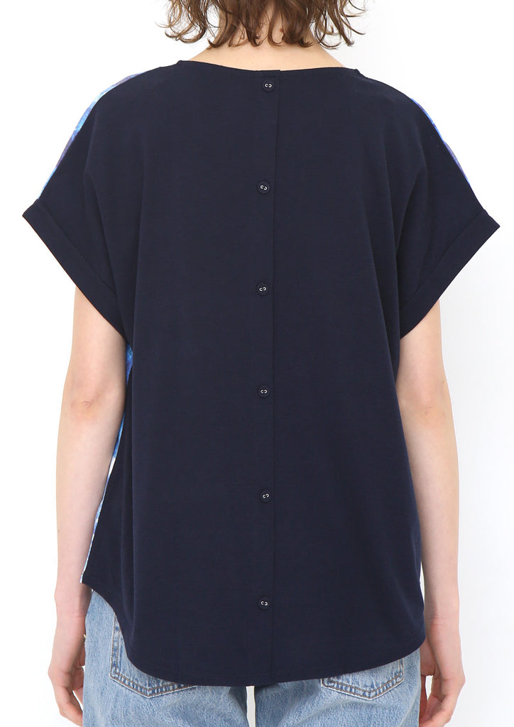 Back Button Round Neck Short Sleeve Tee B (Shining Rain Drops)