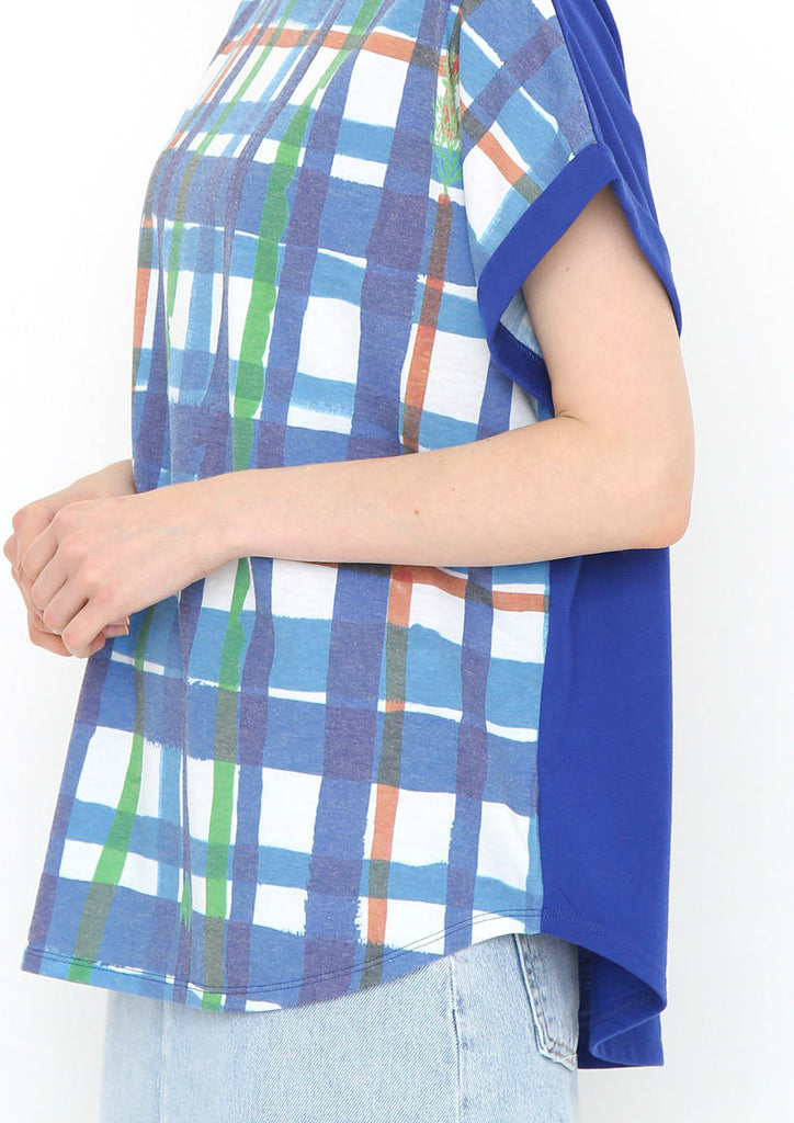 Colorful Round neck Short Sleeve Tee (Vegetable Stick Check)