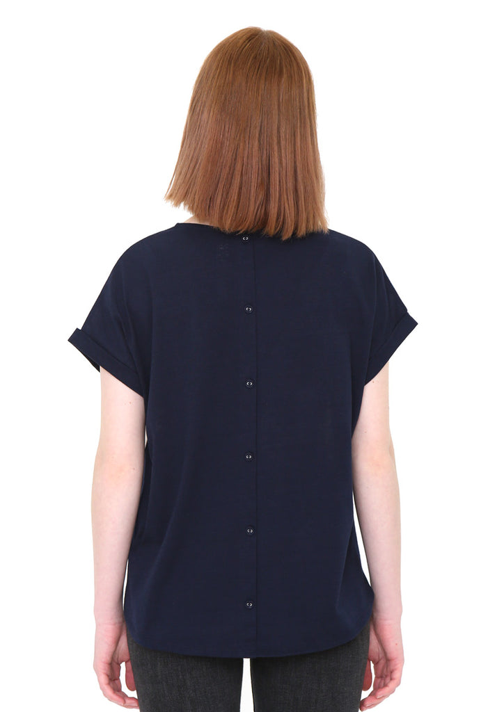 Back Button Round Neck Short Sleeve Tee (Dandelion Field)