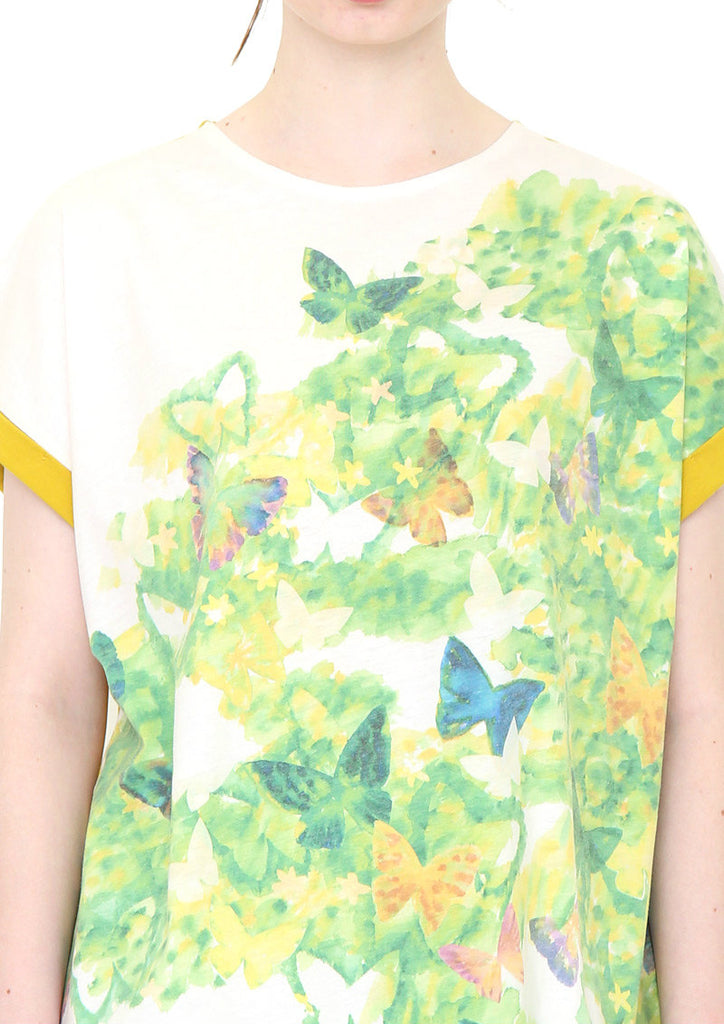 Back Button Round Neck Short Sleeve Tee (Butterfly in the Green)