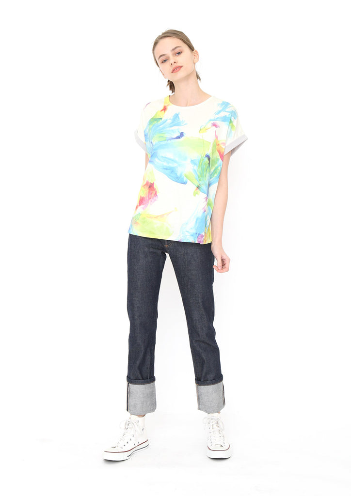 Back Button Tee D (Flowing Colors)