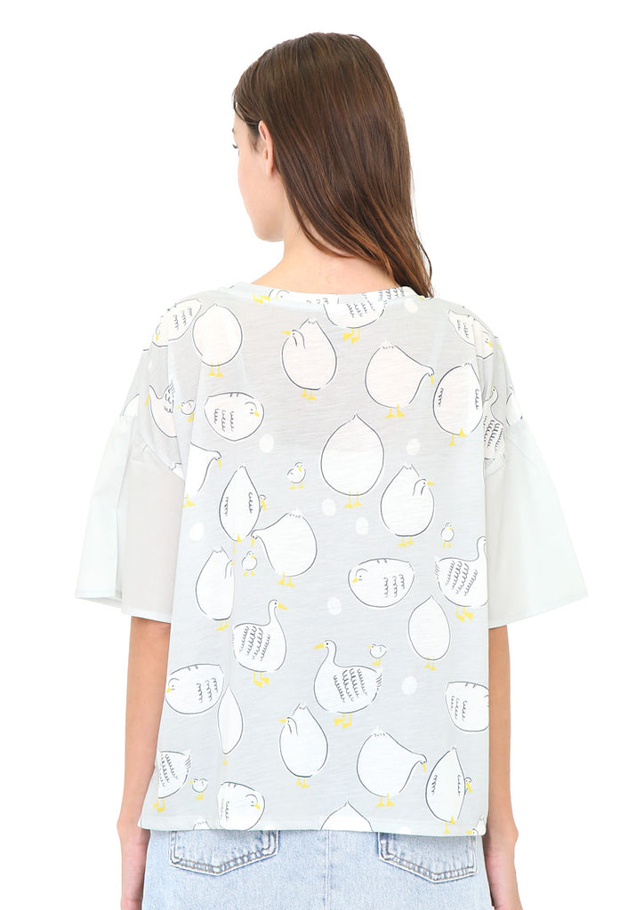 Round Neck Flare Short Sleeve Tee (Ducks)