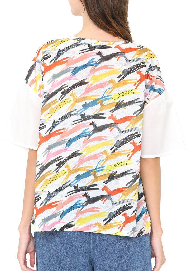 Round Neck Flare Short Sleeve Tee (Running Animals)