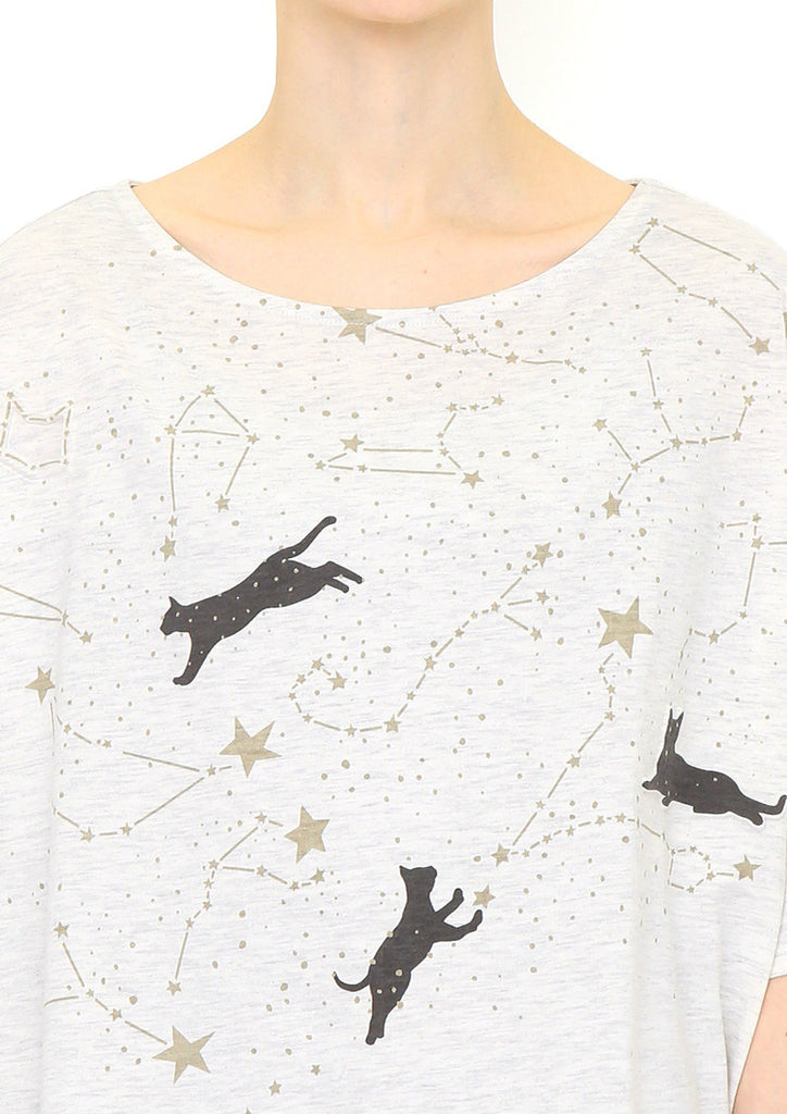 Boat Neck Drop Shoulder Tee (Cat and Constellation)