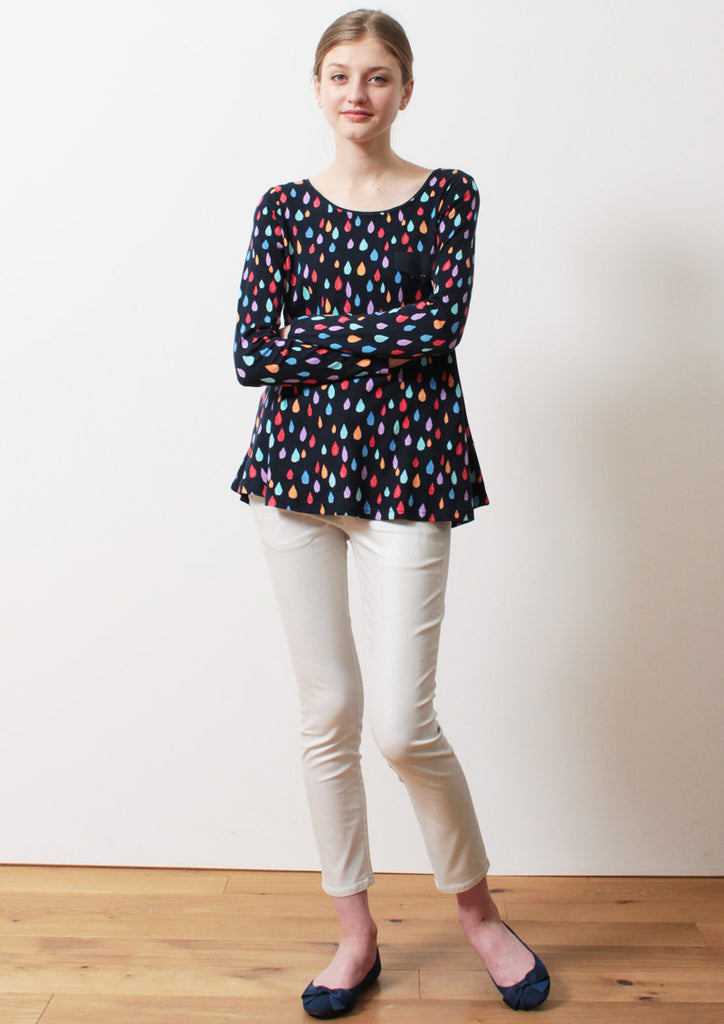 Pocket A Line Long Sleeve Tunic (Colorful Drops)