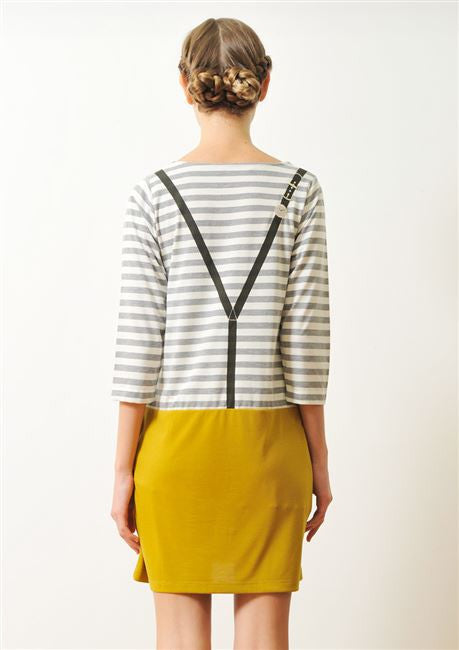 Boat Neck Middle Sleeve One-Piece (Watch Suspenders)