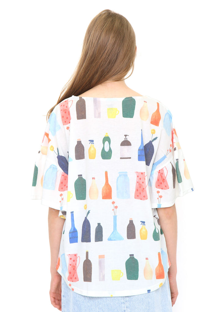 Gather Sleeve Top (Bottles in the Kitchen)