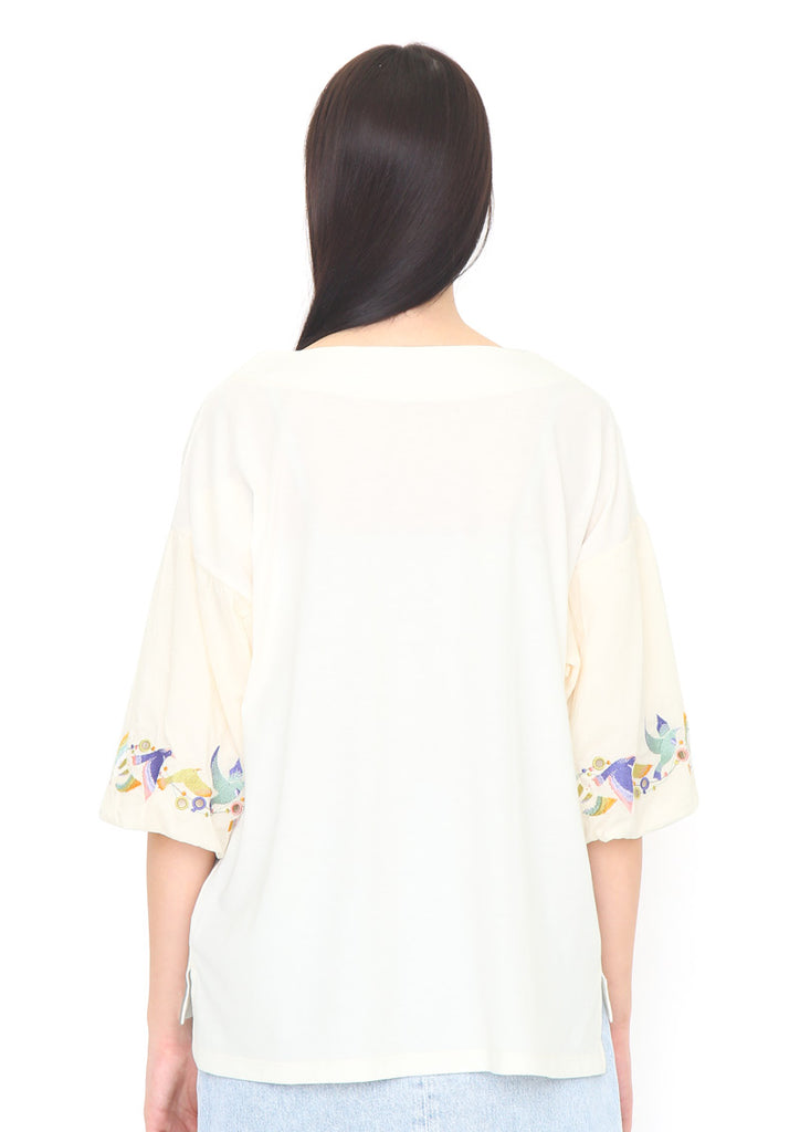 Fabric Combination Volume Sleeve Top (Colorful Flying Birds)
