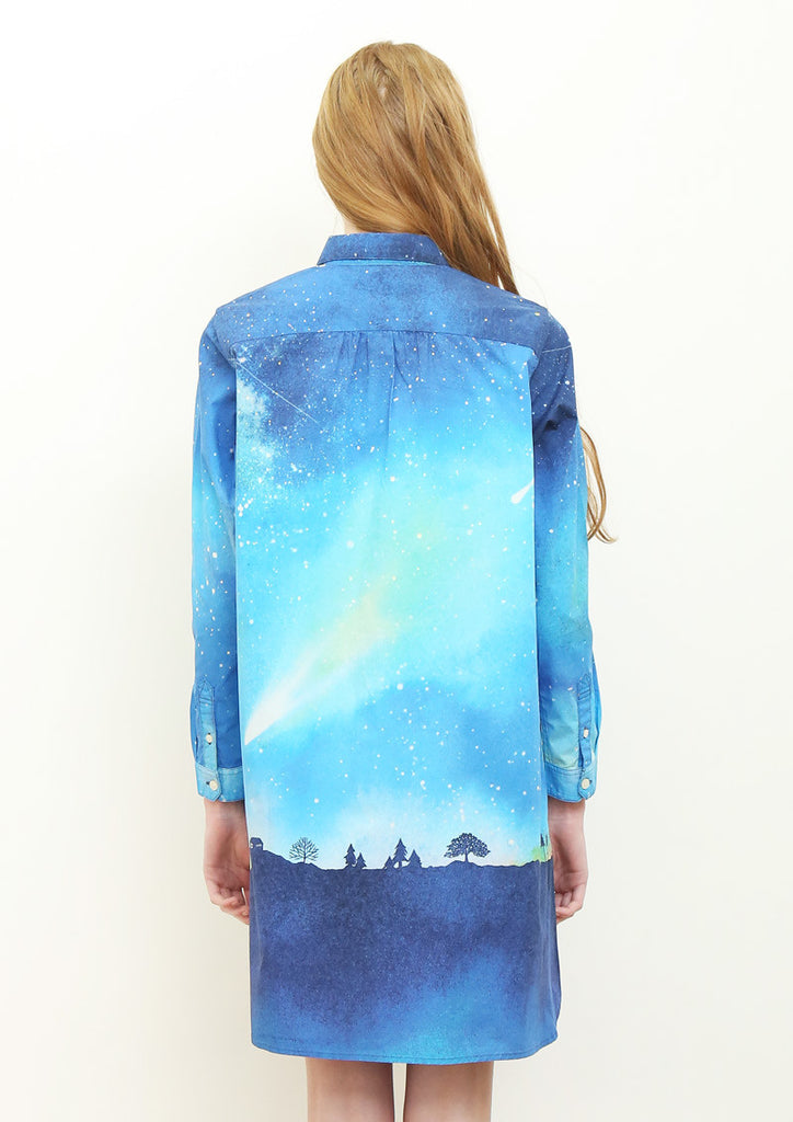 Multi Pattern Long Sleeve Shirt One-Piece (Comet)