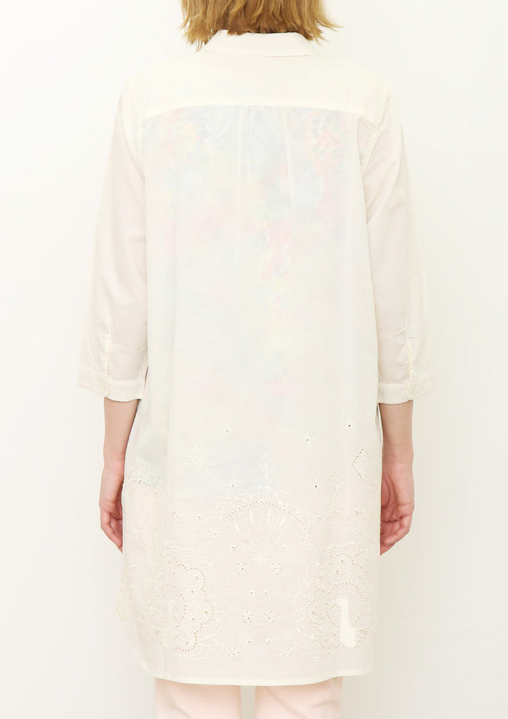 Cutwork Voile Middle Sleeve Shirt One-Piece (Peacocks Lace)