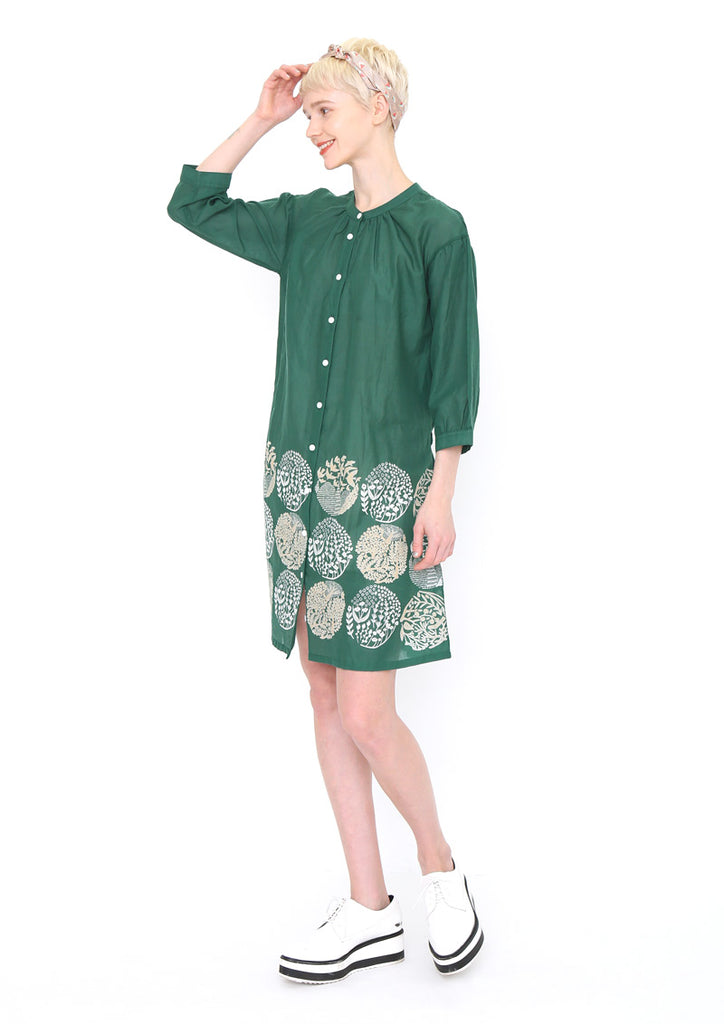 Band Collar Voile Shirt One-Piece (Silhouette of Forest)