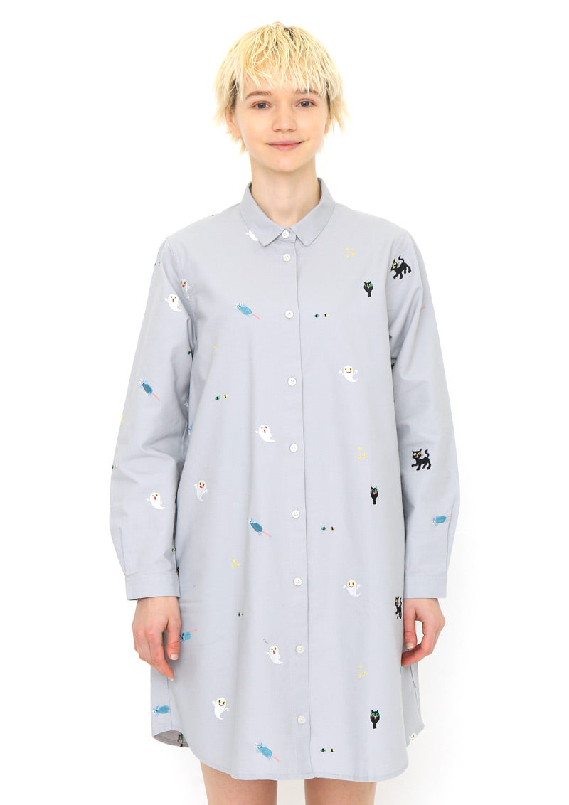 Keiko Sena Long Sleeve Shirt One-Piece (Keiko Sena_Who wont go to bed Pattern)