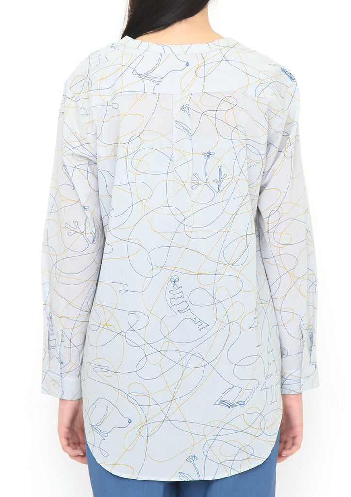 Graphic Long Sleeve Shirt (Drawing Pattern)