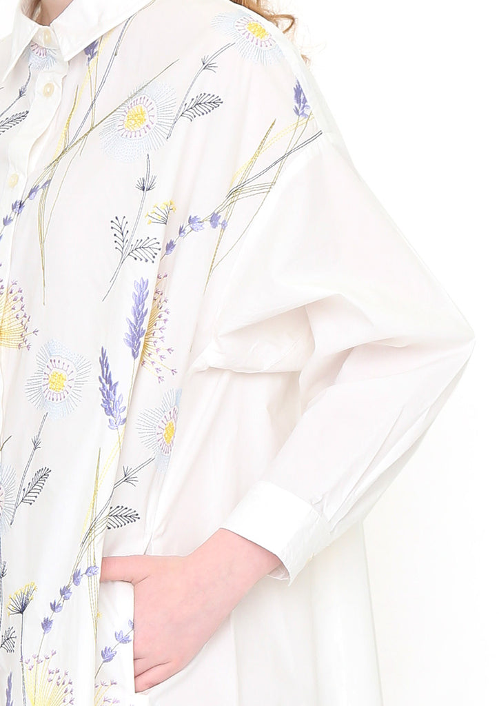 Big Silhouette Wire Shirt One-Piece (Dancing Flowers)