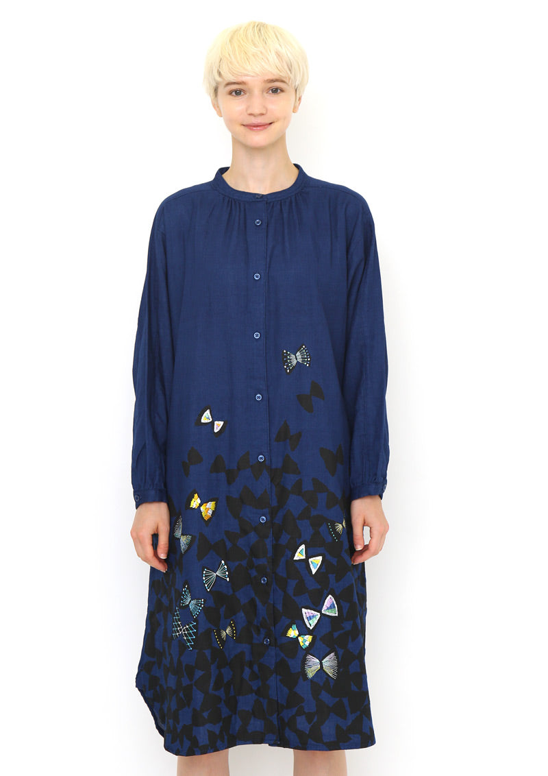 Indigo Double Gauze Shirt One-Piece (Triangle Butterfly)