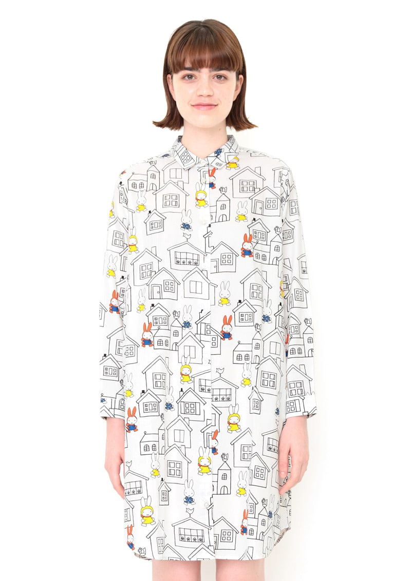 miffy Long Sleeve Shirt One-Piece (miffy_House Pattern)
